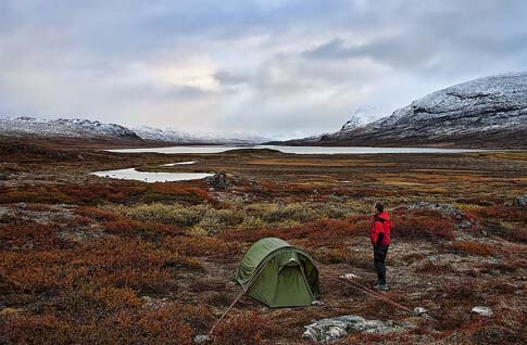 Lappland Zeltnacht bei der Alesjaure-Hütte