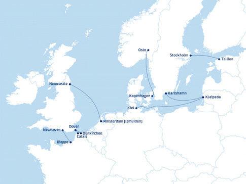 Die Fährrouten von DFDS