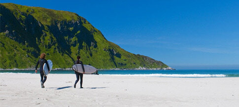 Surfen in Hoddevik, Norwegen