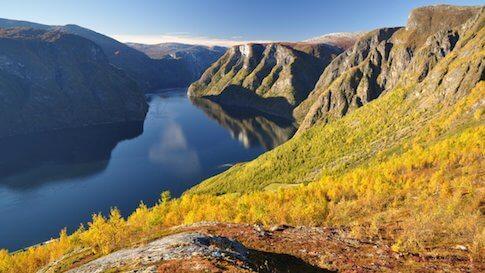 Aurlandfjorden in Norwegen