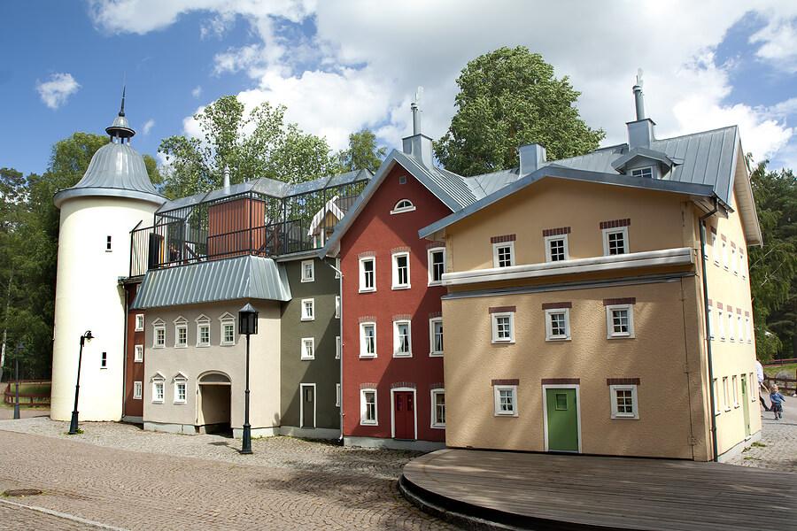 bunte Holzhäuser in Vimmerby